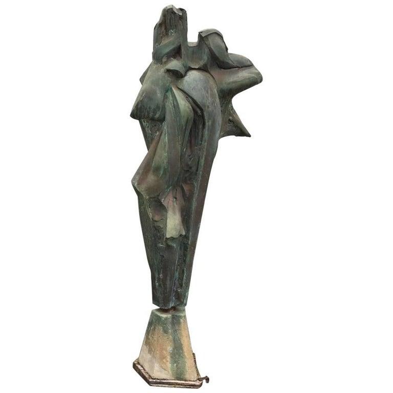 Escultura Moderna en Resina con Base de Piedra, de los Años 80
