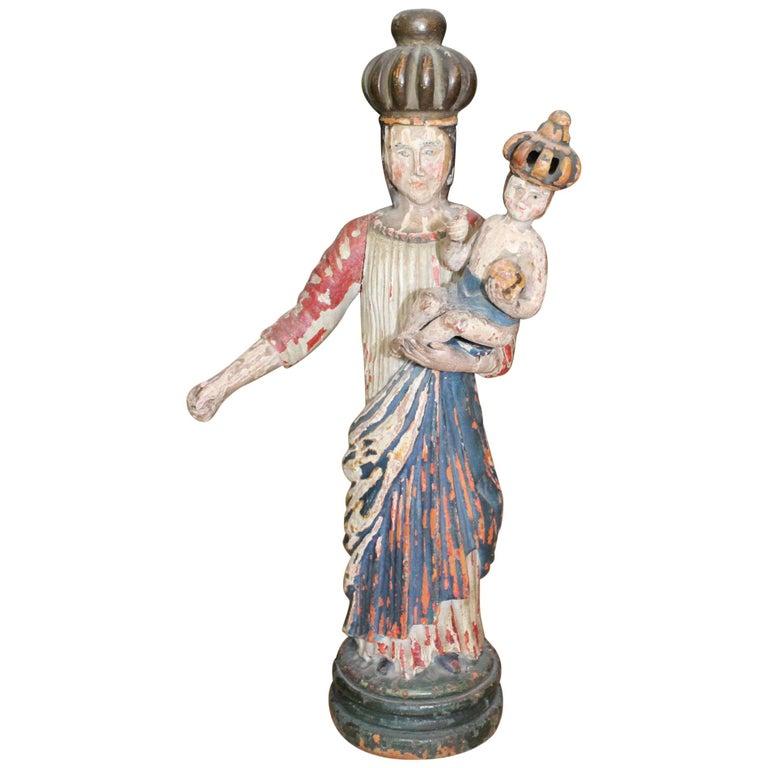 Escultura de una Virgen de Madera Policromada del Norte de España, del Siglo XVIII