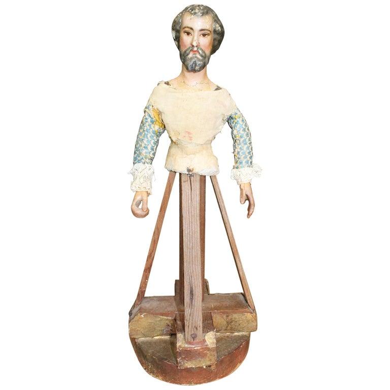 Escultura Española Policromada en Madera y Papel de Fieltro, del Siglo XVIII