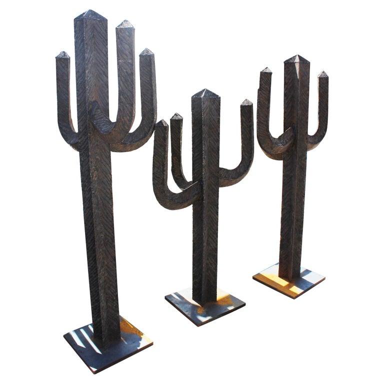 Juego de Hierro Forjado Español de Tres Cactus con Brazos