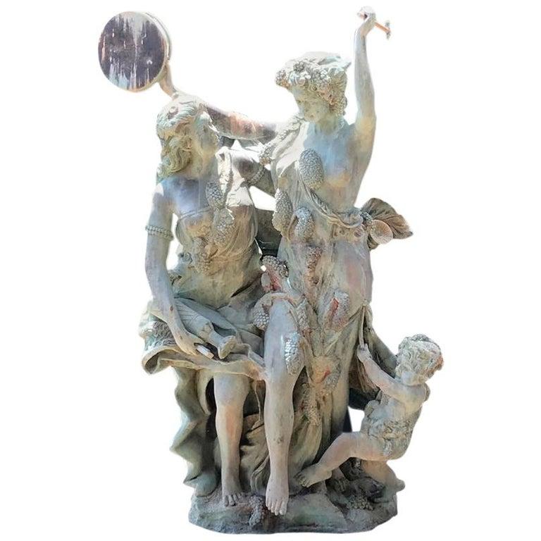 Esculturas de Bronce de Tamaño Natural de Dos Damas con Un Querubín