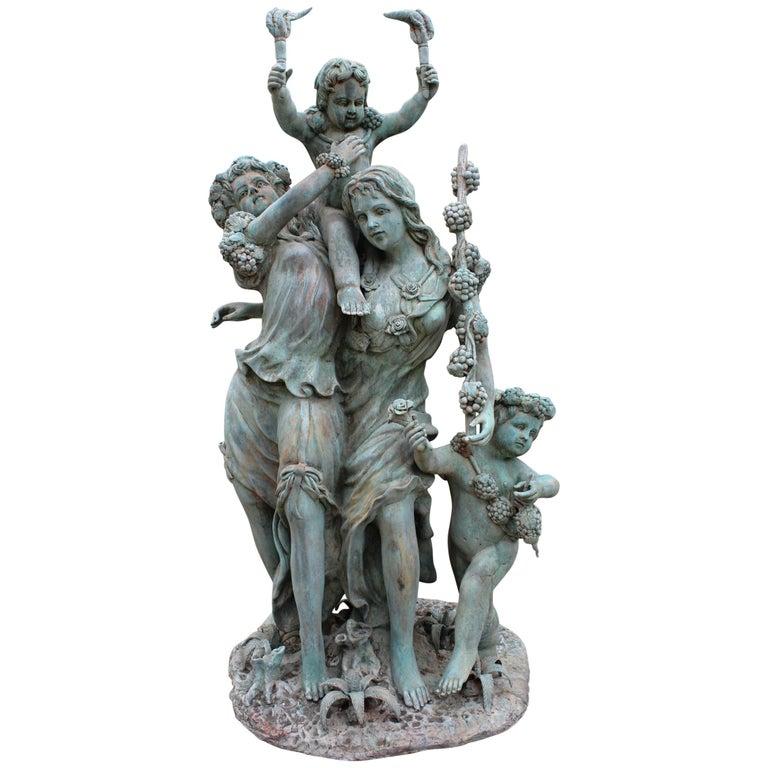 Esculturas de Bronce de Tamaño Natural de Dos Damas con Querubines
