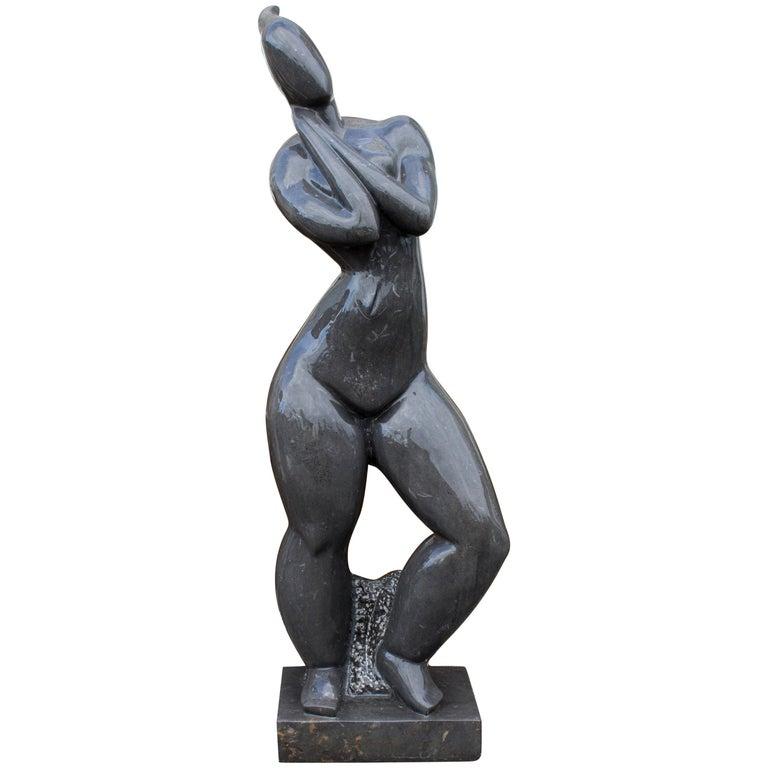 Escultura de Mujer Moderna Pulida en Mármol Negro Belga Puro, de los Años 90