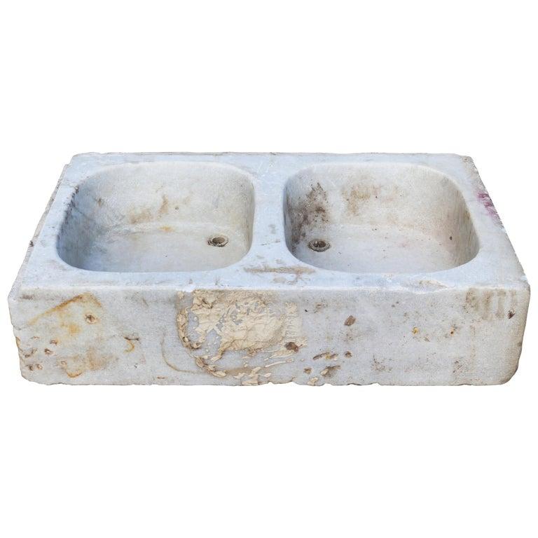 Antiguo Fregadero de Cocina de Mármol Blanco Tallado a Mano, Siglo XIX