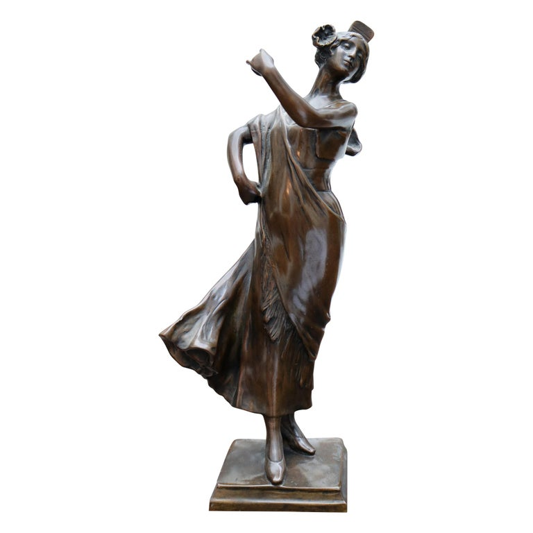 Figura de Bailarina de Bronce, Firmada por A. Bouval, del Siglo XIX