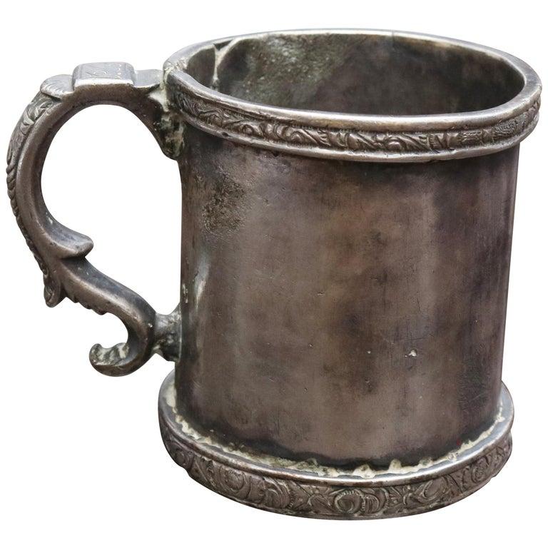 Copa de Plata en Forma de Cilindro con Asa, Posiblemente Boliviana, del Siglo XVIII-XIX