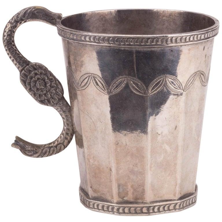 Jarra de Plata Probablemente Peruana con Asa en Forma de Serpiente, del Siglo XVIII