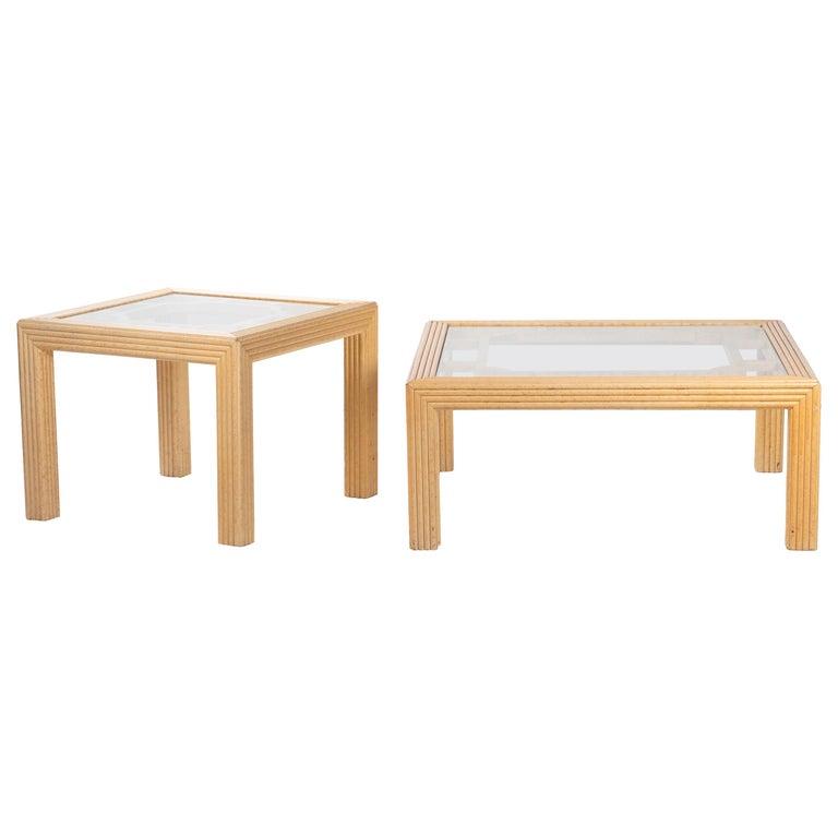 Pareja de mesas auxiliares inglesas de bambú de Harrods, de los años 70
