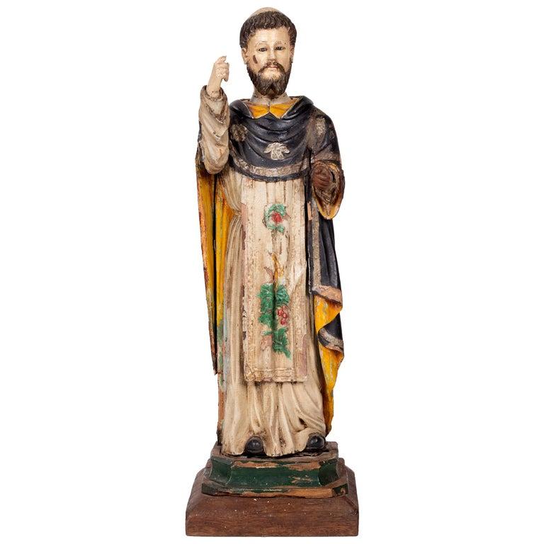 Santo de la Orden Dominicana Pintado y Dorado en Madera, del Siglo XVIII