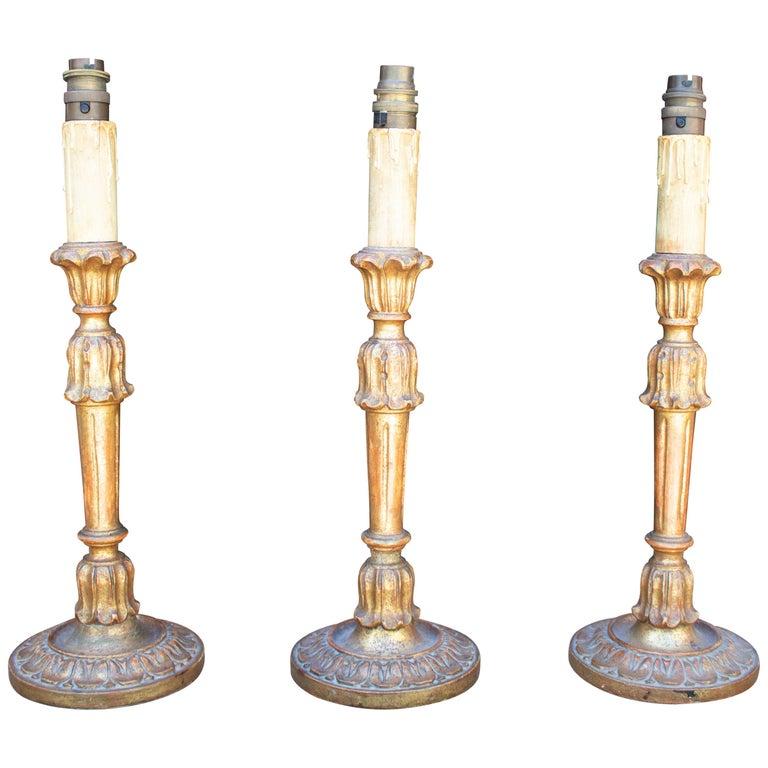 Juego de Tres Lámparas de Mesa con Forma de Candelabro, de los Años 70