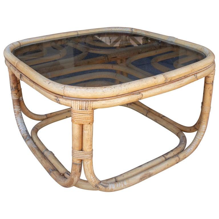 Mesa de Centro de Bambú Español con Tapa de Cristal Ahumado, de los Años 70