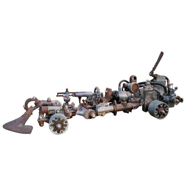 Escultura de Coche de Fórmula 1 Hecha con Piezas de Metal Mecánico Antiguo, de los Años 70