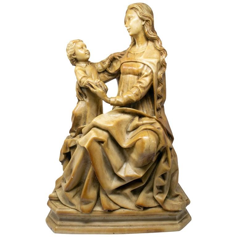 Virgen y Niño de Alabastro de Estilo Gótico, del Siglo XIX