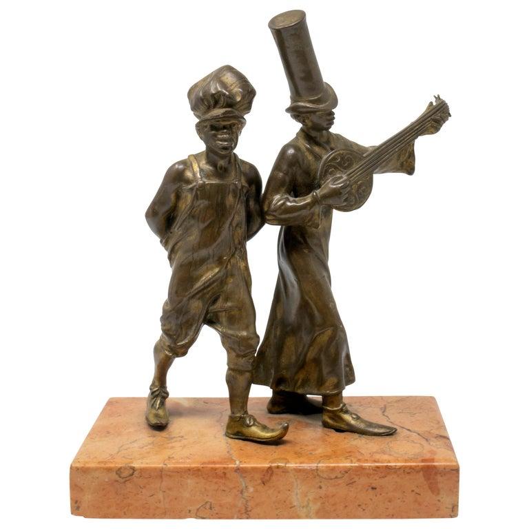 Figura de Bronce con Base de Mármol de Dos Chicos de la Calle, del Siglo XIX