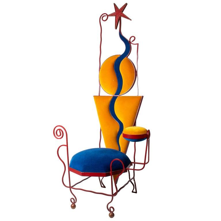 Silla de Hierro de Diseño Abstracto Alemán con Respaldo Alto Tapizado, de los Años 80
