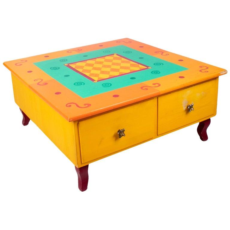 Mesa de Centro Amarilla con Cajones, de los Años 80