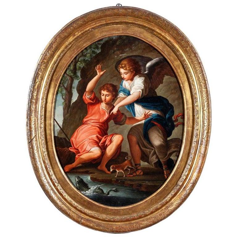 """Óleo Sobre Lienzo de """"San Rafael Arcángel"""" con una Enmarcación Dorada, Italia, del Siglo XVIII"""