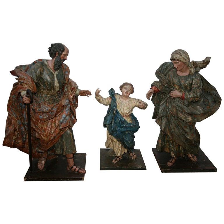 Esculturas de Madera de la Virgen María San Joaquín y Ana con el Niño, España, del Siglo XVIII