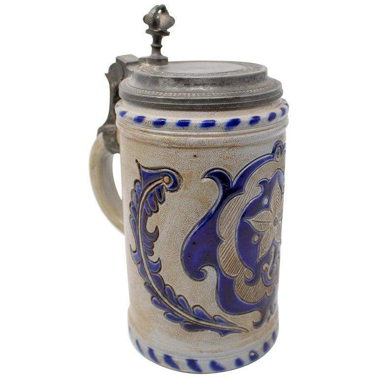 Jarra de Cerveza Alemana con Tapa de Estaño y Azul Cobalto, del Siglo XIX