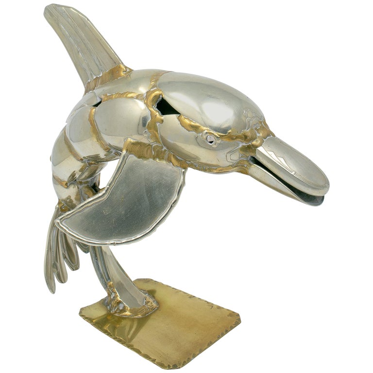 Escultura de Delfín en Metal de Gerard Bouvier, Circa, Década de 1970