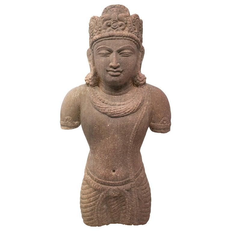 Escultura de Piedra Arenisca Tallada a Mano de los Templos de Amor Hindús de Khajuraho , de los Años 70