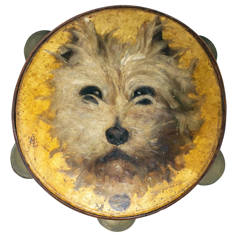 Pandereta Española con Cara de Perro Pintada a Mano, del Siglo XIX
