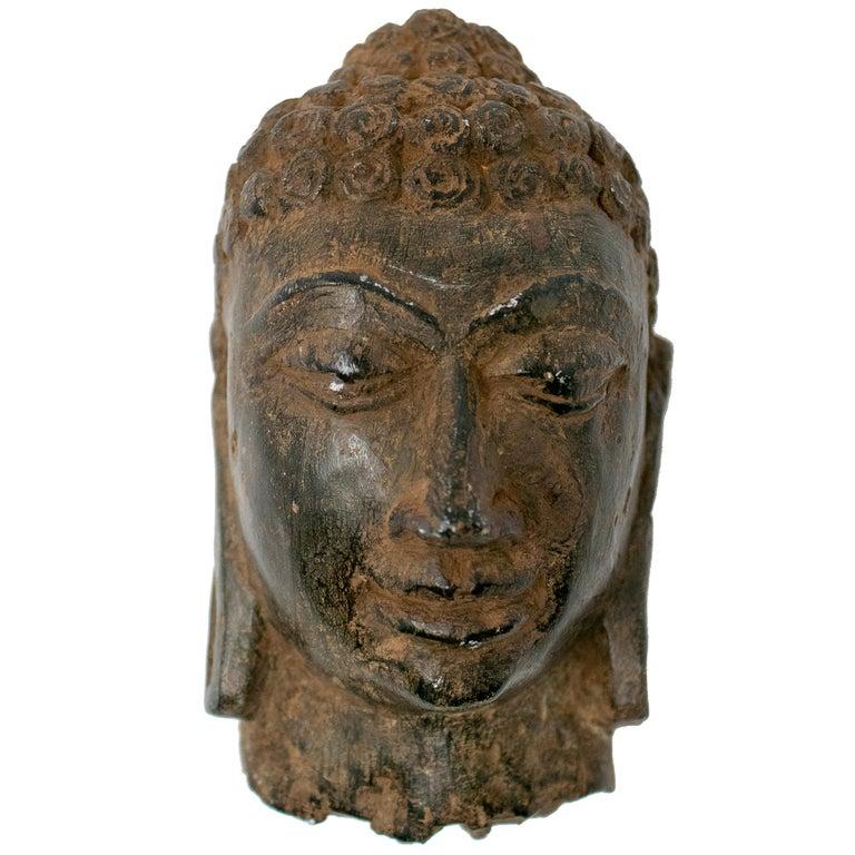 Cabeza de Buda de Piedra Tallada a Mano, India, de los Años 90