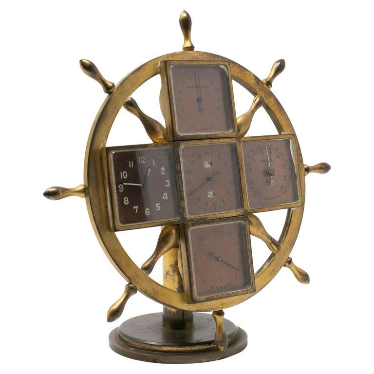Reloj de Sobremesa en Forma de Rueda de Barco de Bronce, del Siglo XIX