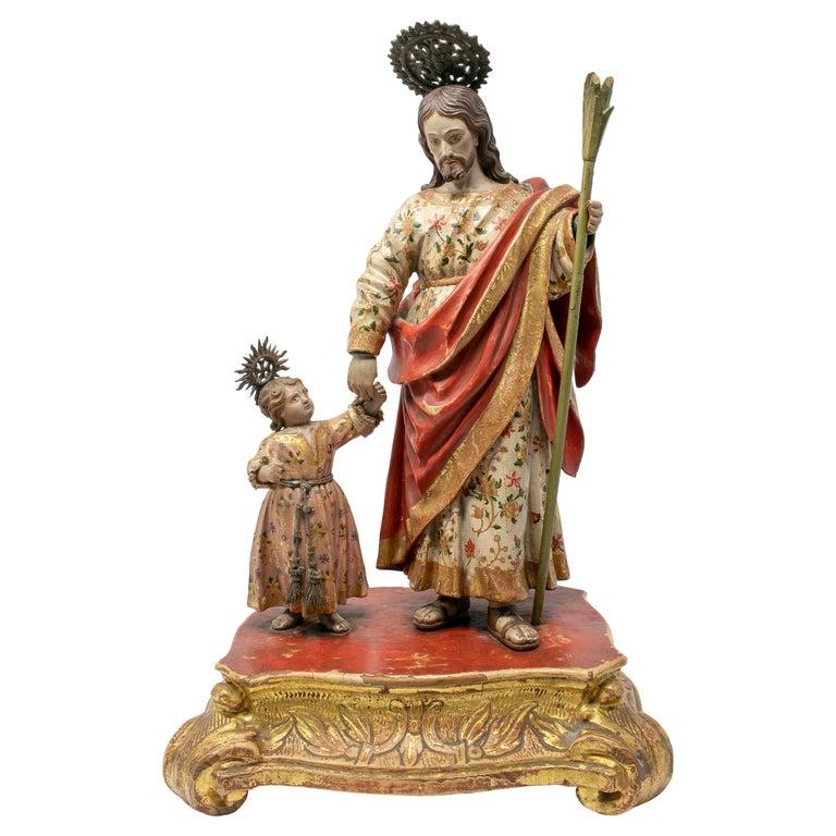 Escultura de San José con El Niño en Madera Dorada, España, del Siglo XVIII