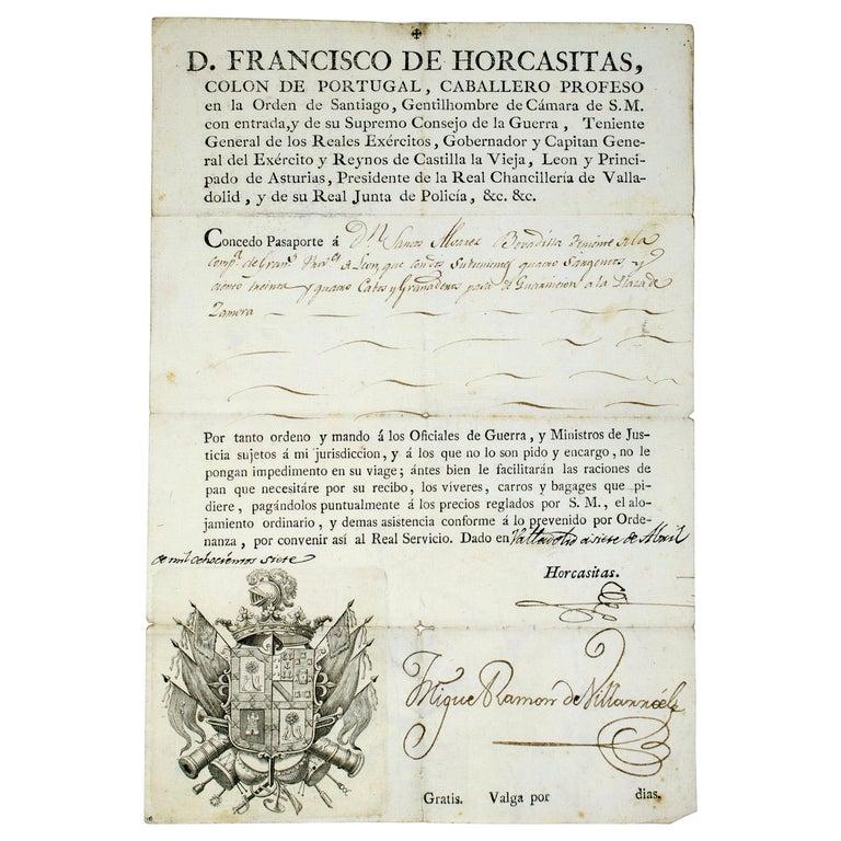 Pasaporte Español Escrito a Mano en Papel, Correspondiente al Año 1815
