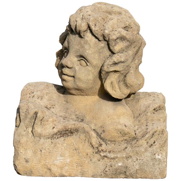 Busto de Niño en Piedra Tallado a Mano, del Siglo XVIII