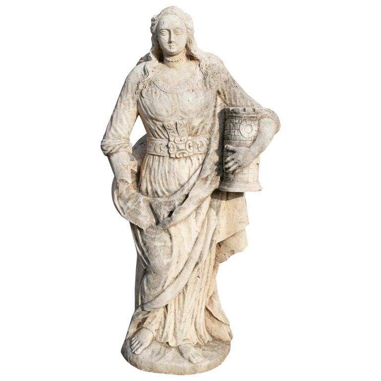 Escultura de Piedra Tallada a Mano de Santa Catalina de Palma, España, del Siglo XVIII