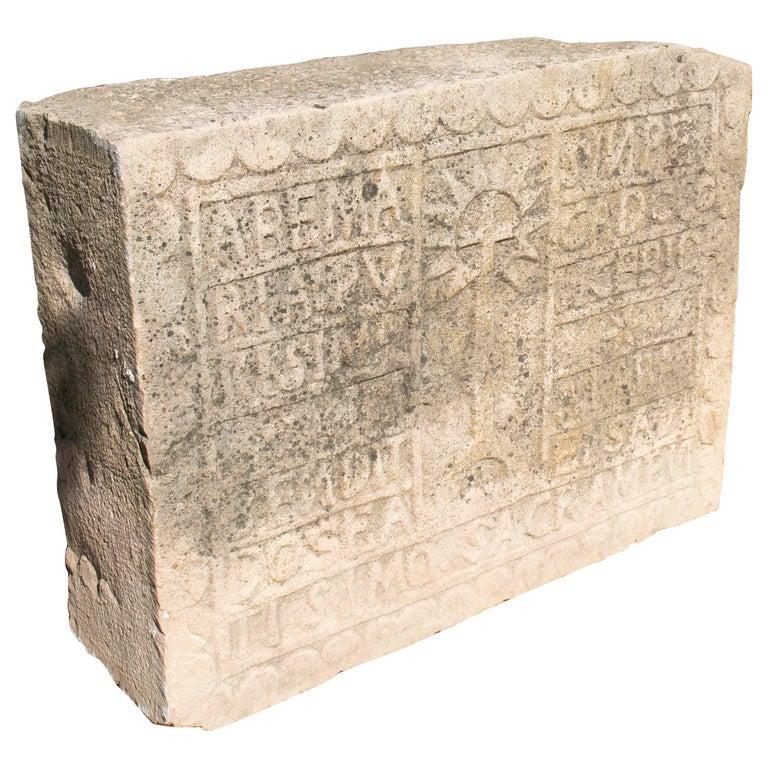 Relieve Español en Piedra Tallada con Fecha e Inscripciones Religiosas, del Siglo XVIII