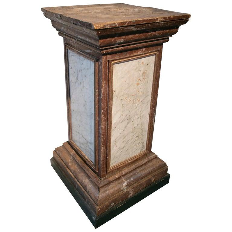 Base de Pedestal de Madera Pintada en Falso mármol, España, del Siglo XIX