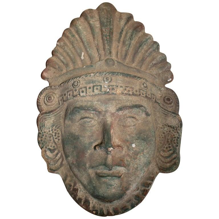 Cabeza de Máscara de Bronce de un Azteca Mexicano, del Siglo XIX