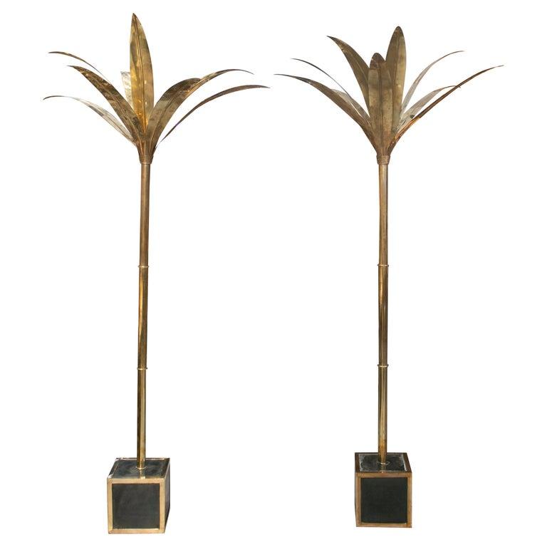 Pareja de palmeras Francesas de Latón con Base Cuadrada y con Revestimiento de Cerámica