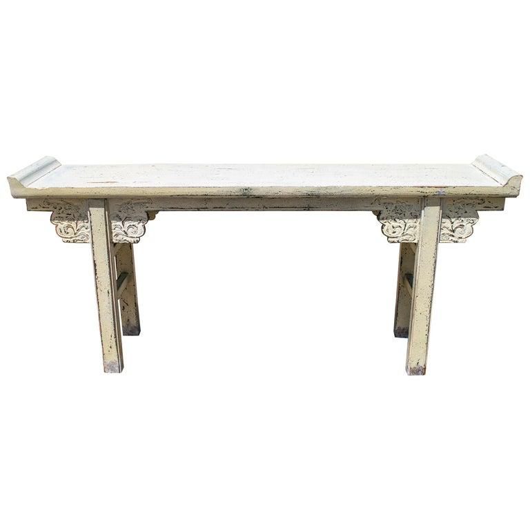 Mesa de Altar China Pintada en Blanco, de los Años 80