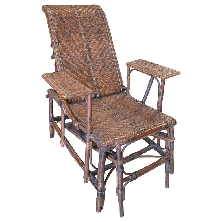 Chaise-longue Española de Mimbre y Bambú, de los Años 50