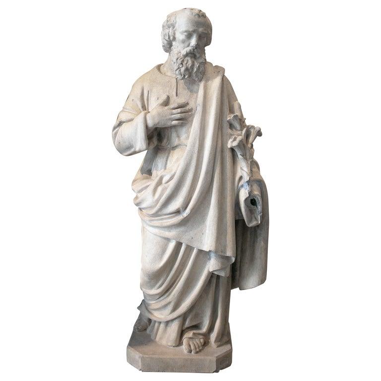 Estatua Francesa de San José en Piedra Reconstituida, de Mediados del Siglo XX