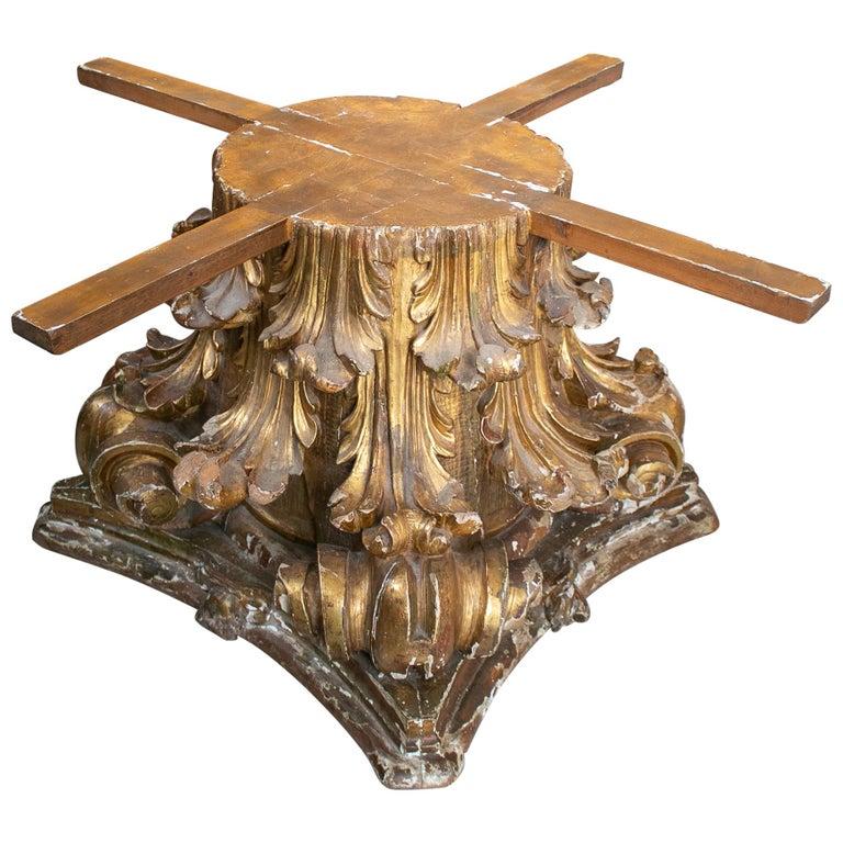 Base de Mesa con Capitel Corintio de Madera, del Siglo XVIII