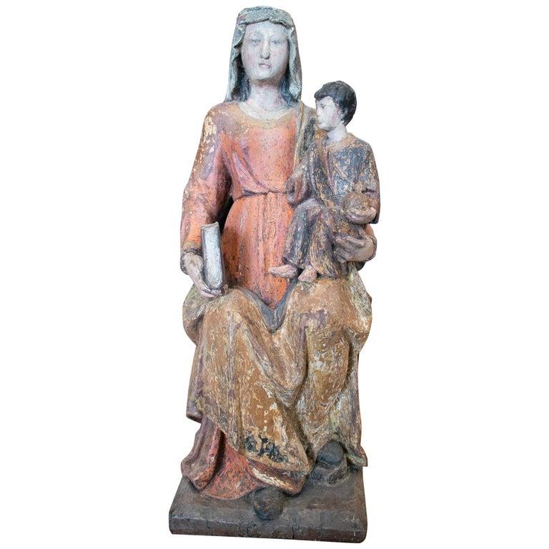 Escultura de la Virgen con el Niño en Madera Policromada, Periodo Gótico Peninsular, del Siglo XV
