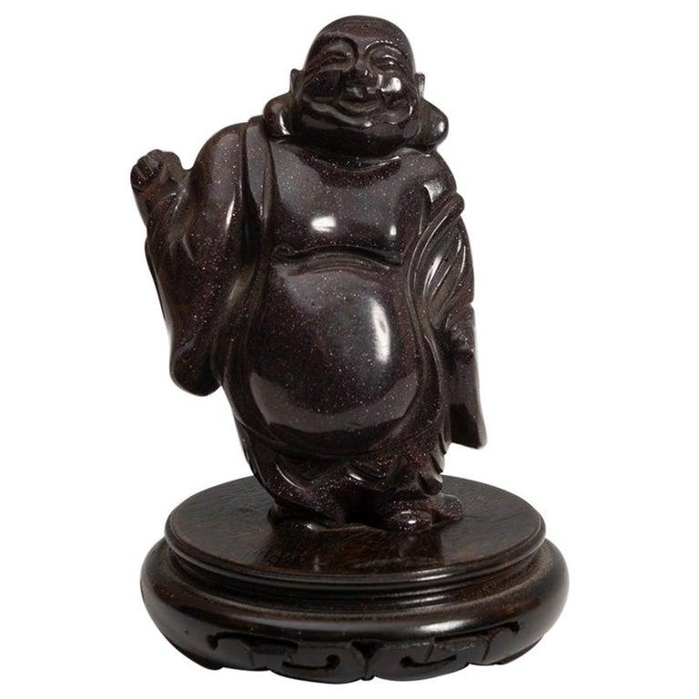 Escultura de Piedra dura de Buda Sonriente, del Siglo XX