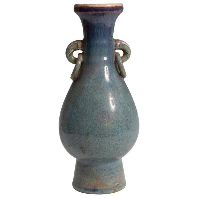 Jarrón Chino de Porcelana Esmaltada en Azul, Siglo XX