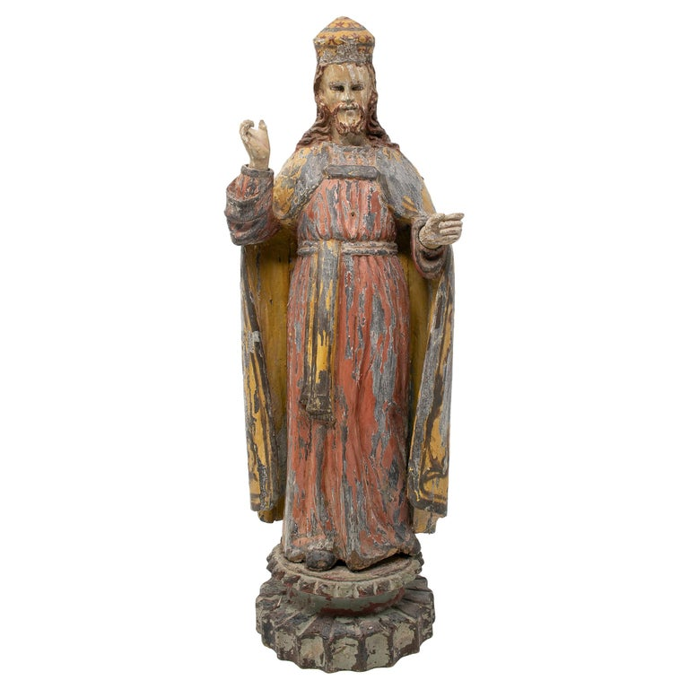Escultura Figurativa Española de Madera Pintada, de Mediados del Siglo XIX