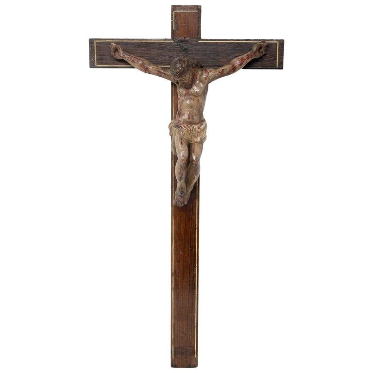 Escultura de Madera en Forma de Crucifijo, del Siglo XVII