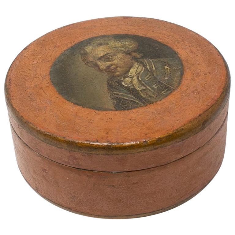 Caja Francesa de Papier Mâché con Retrato Pintado, del Siglo XIX
