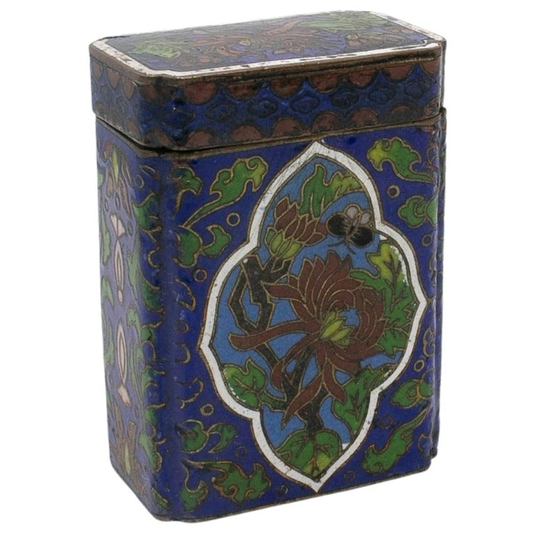 Caja de Latón y Esmalte Cloisonné, del Siglo XIX