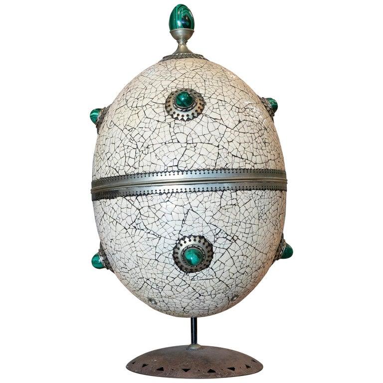 Huevo de Avestruz Gigante Español de Bronce y Malaquita, de los años 80