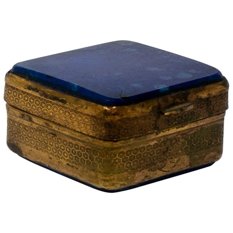 Caja de Metal con Tapa de Lapislázuli y Decoración Grabada, España, de los Años 50