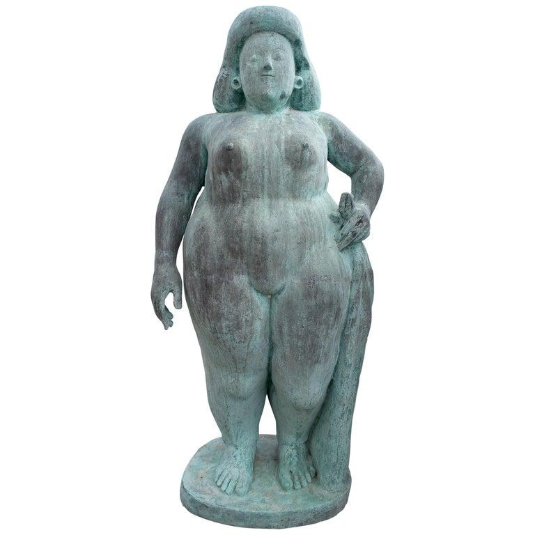 Escultura de Bronce de una Mujer Europea, de los Años 70